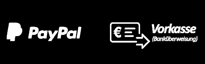 Zahlungsmöglichkeiten Paypal und Vorkasse